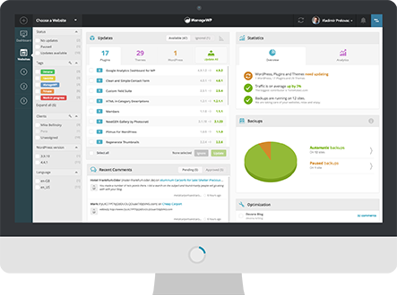 ManageWP dashboard CTA